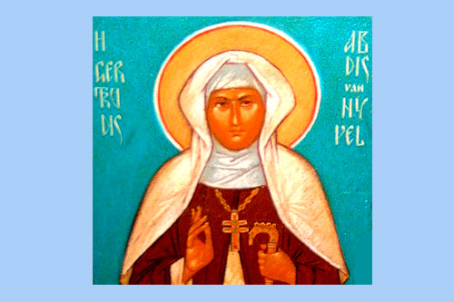 Святая Гертруда Нивельская. Изображение с сайта http://www.archiepiskopia.be,  изменения А. Потупина