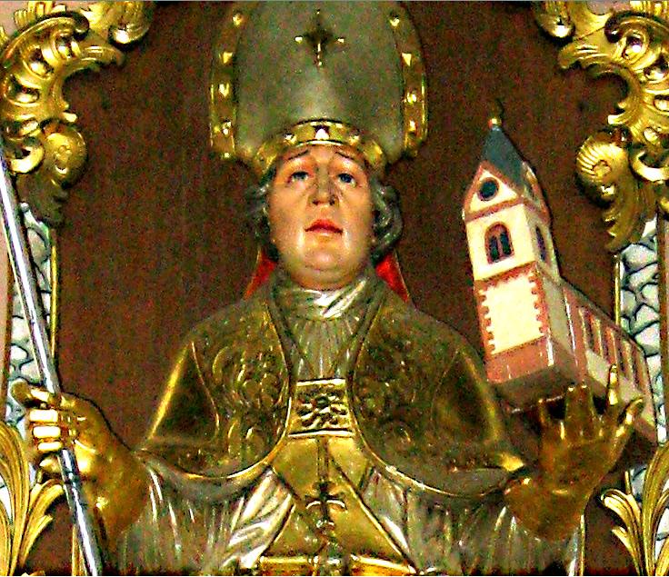 Изображение епископа Абрункула над его мощами в церкви Шпрингергбаха,  (Википедия, фото Globetrottl, переработанное А. Потупиным)