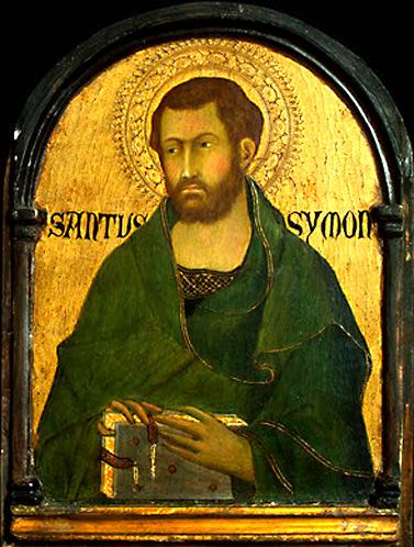 Апостол Симон Зилот (Кананит). Национальная галерея искусств, Вашингтон.  Автор: Симоне Мартини (1284-1344).