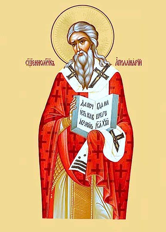 Икона православного святителя Аполлинария Равеннийского. Часть его святых мощей почивает в  Дюссельдорфе.  Официальный покровитель города.